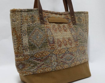 Chenille Tapestry and Canvas Tote Bag,  Tapestry Handbag, Shoulder Bag, Everyday Purse, gift ideas for women