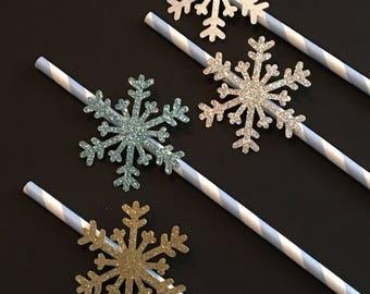 12 Snowflake Straws Glitter Straws Elsa Straws Frozen Birthday Straws Winter Straws Baby Shower Straws Snowflake Decor Light Blue White