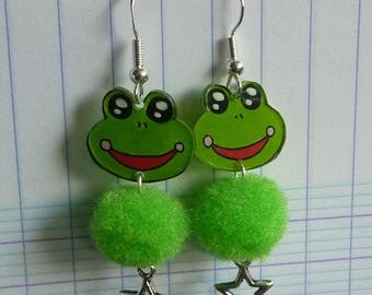 Earrings in sterling silver 925 frog kawaii crazy shrink plastic hand painted and star charm green tassel