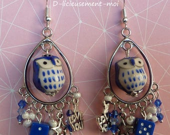 Sterling silver 925 earrings with a blue owl made with ceramic and beads