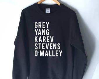 Grey Sloan Memorial Hospital Sweatshirt - Grey's Anatomy T-Shirt Sweatshirt - Meredith Grey - Derek Shepherd - Yang - Karev - Stevens