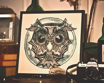 """Forest MOON Owl 12"""" x 12"""" Collectible Art Print"""