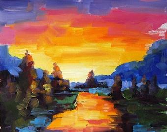 Landscape painting, sunset painting, original oil painting, river painting, small painting