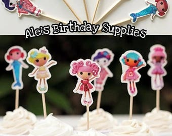 24 Pc Lalaloopsy Cupcake Toppers Picks Double Sided Party Supplies