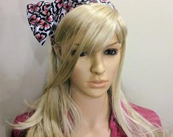 Pink and Black Butterfly Headband, Bow Headband for Women, Rockabilly Headband, Upcycled Headband, Very Unique Women's Cotton Headband, boho