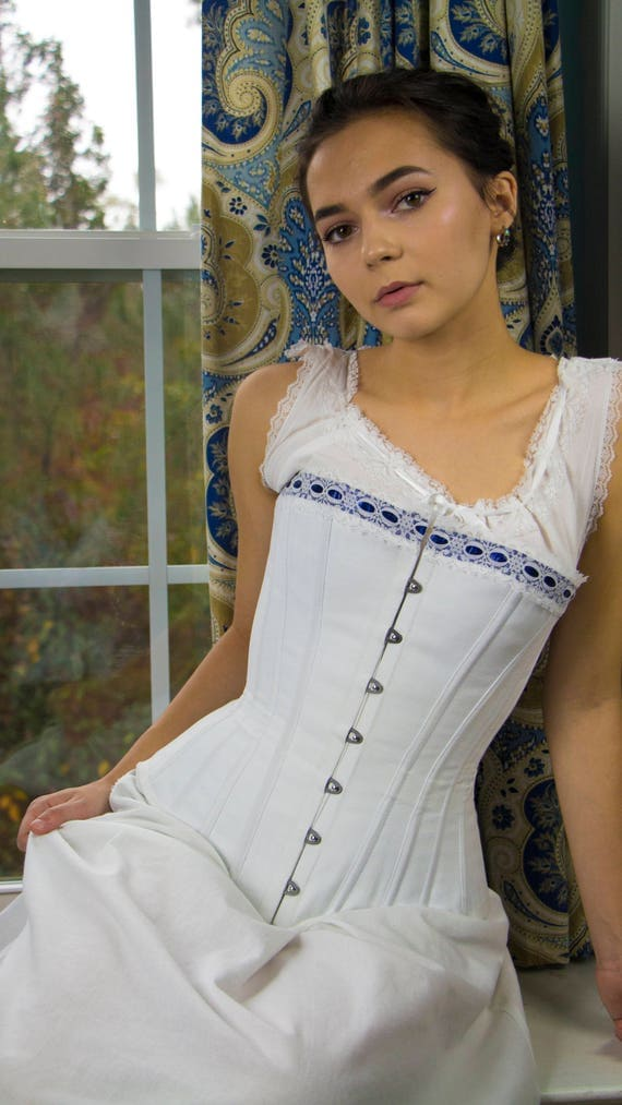 Victorian Corsets – Old Fashioned Corsets & Patterns Corset - White Victorian Corset with Blue LaceCorset - White Victorian Corset with Blue Lace $200.00 AT vintagedancer.com