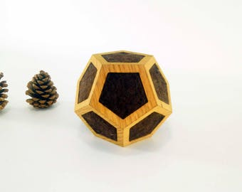 Wooden Dodecahedron Woolfelt, Dodecahedron Geometry , Golden Ratio Geometry , Sacred Geometry , Platonic Solid , Modern sculpture , Wool