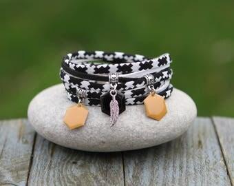 Feather Cuff Bracelet, bracelet, bracelet charm enameled sequin, white black bracelet, graphic bracelet