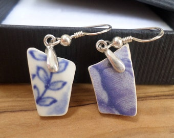 Beach Pottery Sterling Silver Earrings, Beach Jewelry, Sea Pottery, Pottery Earrings, Sea Pottery Earrings, Northumberland, Pottery Shards