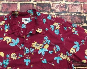 Vintage Hawaiian Shirt Reyn Spooner Hawaiian Shirt Reverse Print Floral Shirt Aloha Surf Shirt Beach Shirt Mens XL Size X-Large
