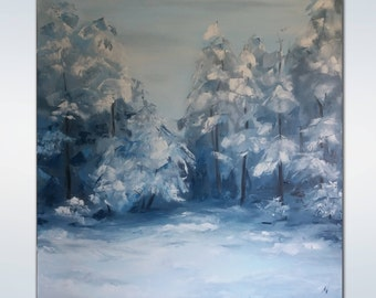 Large wall art Impasto oil painting Winter Landscape Original Oil Painting Christmas Decorations