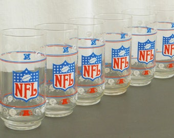 6 Vintage NFL Official Glassware Set, 16-Ounce Tumblers, Mobil Oil Collection, Gift for Football Fan, Superbowl, Man Cave, Collector's Item