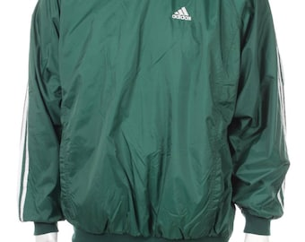 Vintage Adidas windbreaker  Pullover green/white size L