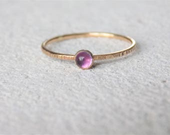 Amethyst Gold Ring | Minimal Dainty Ring | Gemstone Ring | Hammered Ring | Gold Filled Ring | Tiny Stacking Ring | Skinny Ring