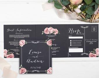 Rustic Wedding Invitation - Double-Folded Chalkboard Floral Framed