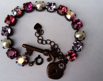 sweet pink swarovski crystal bracelet