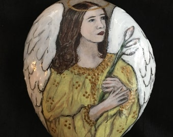 Hand Painted Lily Angel Stone Painting