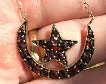 Antique Victorian Bohemian Garnet Crescent Star 1890's  Necklace Pendant
