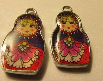Russian Matryoshka Doll Charm-Pendant, 25mm, Set of 2