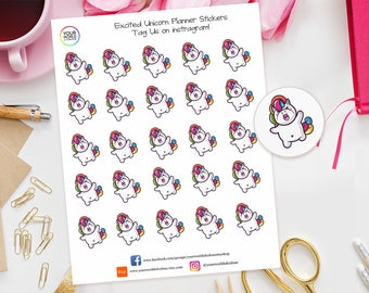 Excited unicorn Planner Stickers For Erin Condren, Happy Planner, Schedule, Plum Paper, Filofax TN etc Party, News, Celebrate, Birthday