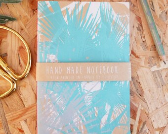 Aqua Palm - Screen Printed & Hand Bound Notebook - made in the sunshine!