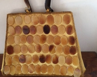 Vintage faux tortoise shell purse/handbag with gold lining