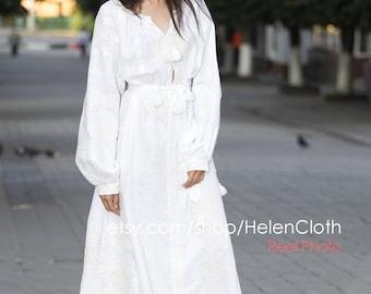 Vyshyvanka White Linen Embroidered Maxi Dress Mexican Dress Ukrainian Dress Kaftan Caftan Free shipping