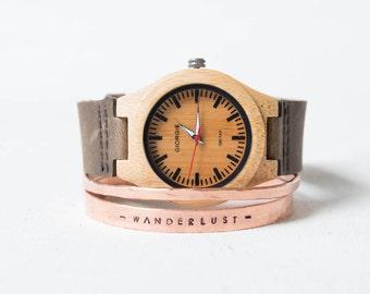 Wooden watch | Wood watch women |Trendy wrist watch stacked bracelet | original gift | Wild | Adventurer | Gift for her | Hipster watch