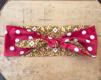 hair scarf, knotted headband, headband with bow, rosie the riveter, 1940s style, reversible headband, red polka dots, floral headband