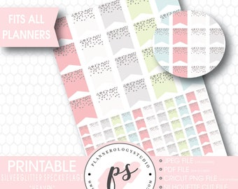 Silver Glitter Specks Flags Printable Planner Stickers | Heaven | JPG/PDF/Silhouette Cut Files