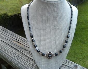 Hematite, Antique Silver Decorative Spacers, Circle Pendant Center  Necklace
