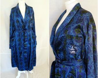 Blue satin robe dressing gown Large oriental Chinese wraparound robe for men mens turquise long dressing gown lounge wear vintage 70s