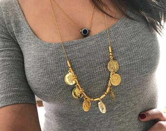 Gold Coins Necklace, Evil Eye Necklace, Gold Necklaces, Round Necklace, Disc Necklace, Evil Eye Charm, Gift for Her, Made in Greece.