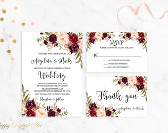 Marsala Wedding Invitation Printable Burgundy Wedding Invitation Suite Floral Boho Wedding Invite Bohemian Spring / Summer Wedding Set