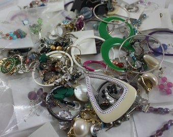 Junk Jewelry Grab Bag Earrings Lot of Over 180 Pieces Up-cycle Recycle