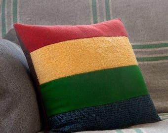 "BUNDARRA Primary Stripe Cushion Cover – 17"" Medium Cushion, Upcycled Wool Vintage Fabric, Retro Inspired, Mid-Century Mod Throw Pillow"