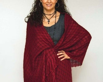 Handwoven shawl, large scarf in dark red mohair and tencel. Handwoven pashmina wrap. Large dark red scarf.