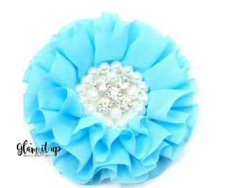 Chiffon Flowers-Pearl chiffon flowers-ruffle chiffon flowers-3.5 in flowers-headband flowers-flowers for headbands-diy headband-turquoise