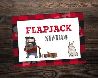 Flapjack Station / Bar Sign // Lumberjack Party //  5 x 7 and 8.5 x 11 // Instant Digital Download PDF