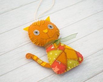 Cat ornament Ginger cat Cute felt cat Kitty decor gift for cat lovers Car decor Felt toys Christmas ornament Christmas cat Decorative cat