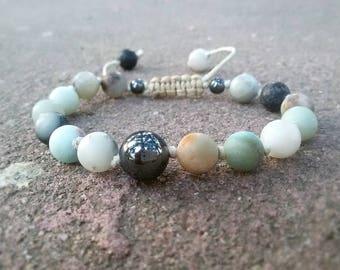 Amazonite bracelet 8 mm Amazonite Shamballa bracelet Matte Amazonite jewelry Protective bracelet Unisex Wrist mala bracelet Gift for men