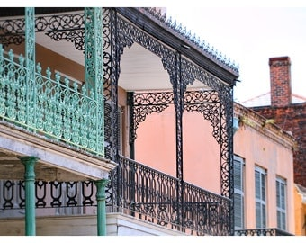 New Orleans photography, French Quarter, lace iron work, travel photography, wrought iron balconies, vintage French Quarter, NOLA wall art