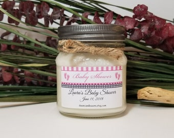 Baby Shower Prizes - 8oz Soy Candles Handmade - Baby Shower Favors - Pink Baby Feet - Personalized Baby Shower Candles - Mason Jar Candles