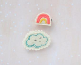 Rainbow & Cloud Hair Clip Set / Cloud Barrette / Rainbow Barrette / Neon Colors / Girl's Hair Clip