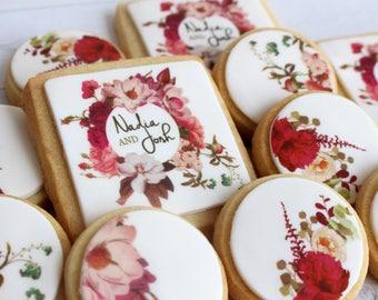 1 Dozen Custom Name Wedding/Engagement Floral Themed Cookies