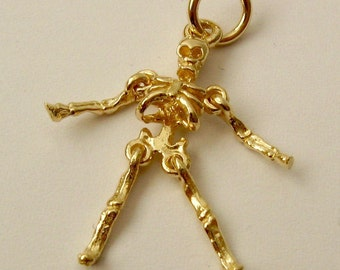 Genuine SOLID 9K 9ct YELLOW GOLD 3D Skeleton charm/pendant