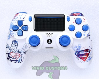 Custom PS4 Controller - Modded Sony PlayStation 4 Pro/Slim Version 2 Dualshock Wireless Pad - Superman Mod V2