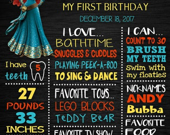 Princess Merida Birthday Chalkboard Poster - Wall Art design - Birthday Party Poster Sign - Any Age