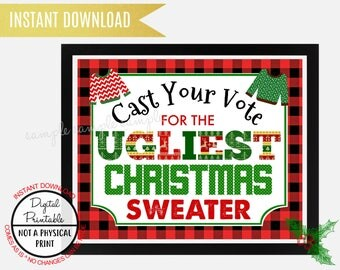 Ugly Sweater Christmas Party Welcome Sign, Tacky Sweater Christmas Party, vote for the ugliest sweater sign, Printable Instant Download