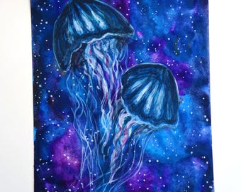 galaxy artwork , jellyfish painting , jellyfish decor , trippy art , original watercolor